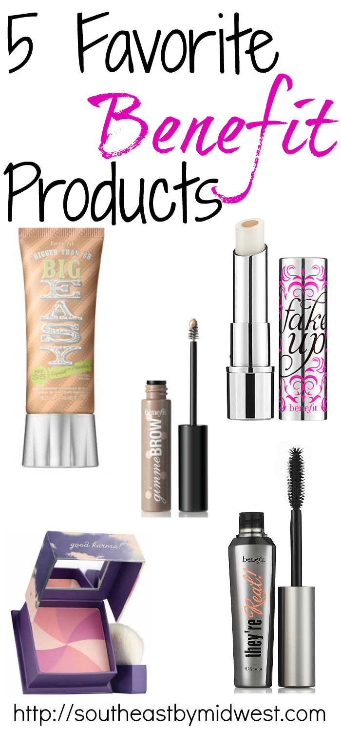 5 Favorite Benefit Products on southeastbymidwest.com #benefit #benefitcosmetics #bigeasy #fakeup #gimmebrows #hervana #theyrereal