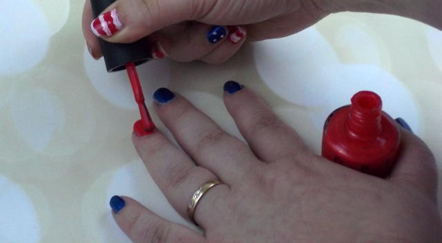 4th of July Nail Art Tutorial Applying OPI Cajun Shrimp on southeastbymidwest.com #nails #nailart #beauty #bblogger #4thofjuly #opi