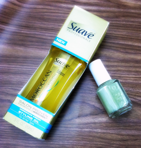 Pretty Little Beauty Swap Suave Moroccan Infusion Oil and Essie Nail Polish in Navigate Her on southeastbymidwest.com #beauty #beautyblogger #bblogger #swap #suave #essie