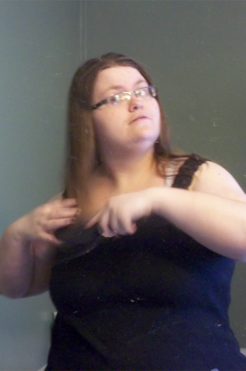 Brushing Hair with Conair Velvet Paddle Brush for Sexy Half Ponytail on southeastbymidwest.com #HeartMyHair #CollectiveBias #ad #cbias
