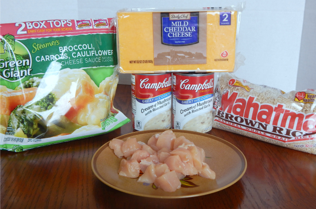 Ingredients for the Easy Cheesy Chicken and Veggie Casserole