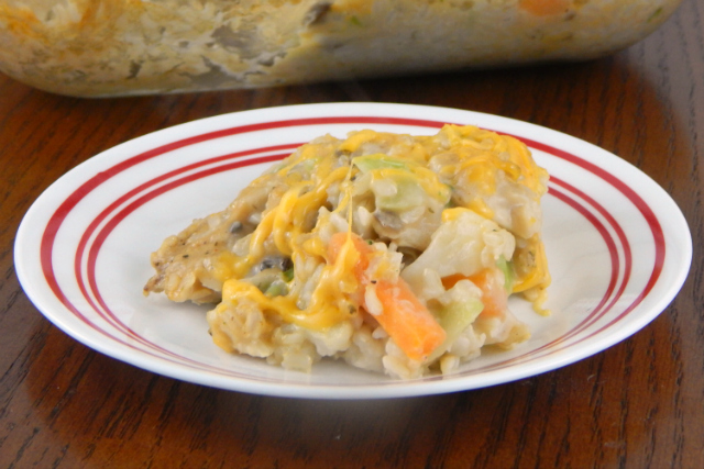 Easy Cheesy Chicken and Veggie Casserole on Plate
