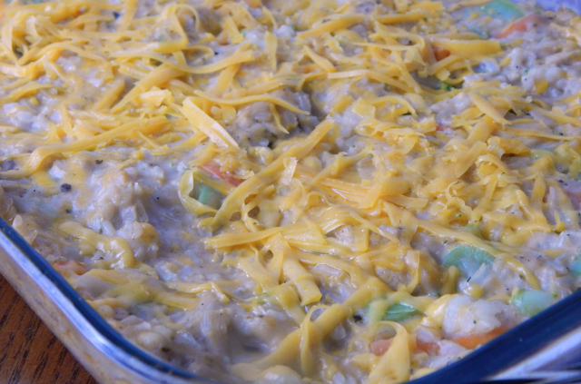 Easy Cheesy Chicken and Veggie Casserole out of the oven