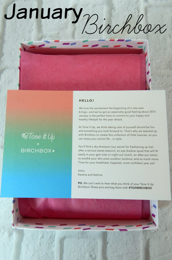 It's time for the January Birchbox Unboxing. The Tone It Up Birchbox included items from Aquareveal, Klorane, Whish, Coola and Coastal Scents