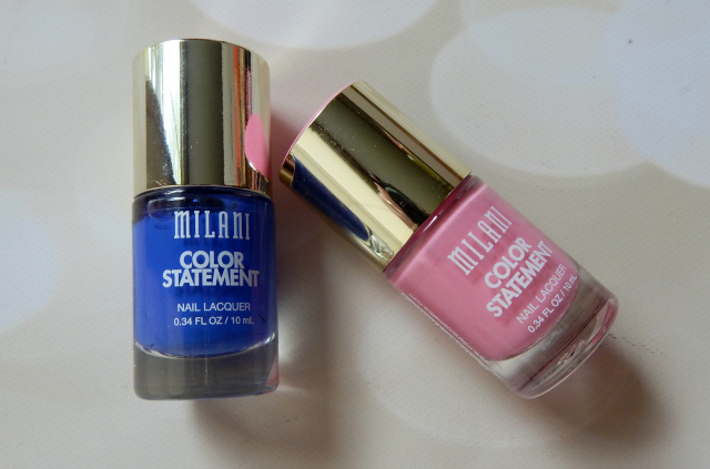 Two products from CVS Haul were Milani Color Statement Nail Polishes in Bombshell and Blue Print