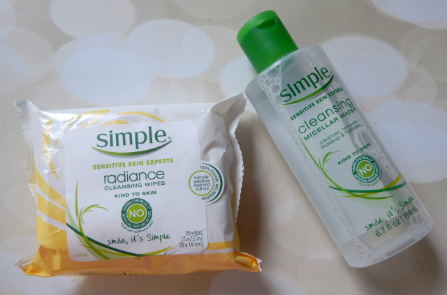 Two of the products from my CVS Haul; Simple Micellar Water and Simple Radiance Makeup Remover Wipes