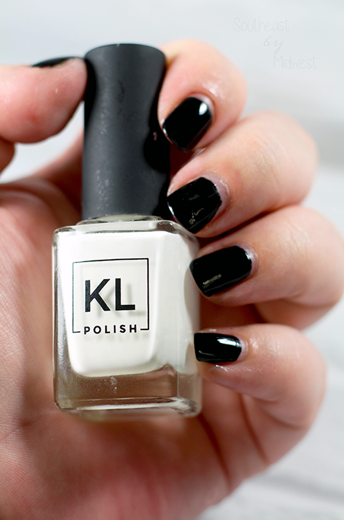 KL Polish Black and White Nail Polish Review Tuxedo Mask || Southeast by Midwest #klpolished #manimonday #beauty #bbloggers