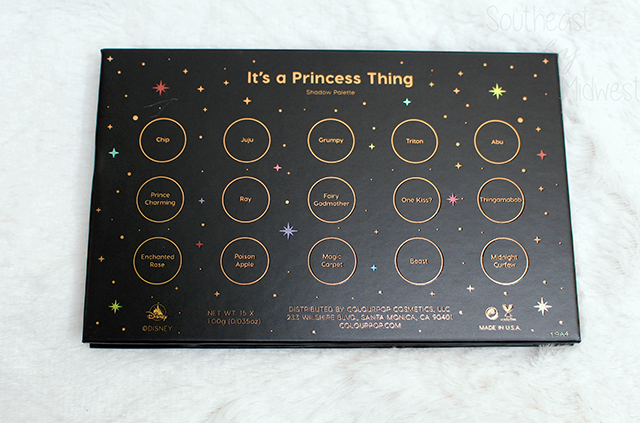 ColourPop Disney Princess Palette Review Back of Box || Southeast by Midwest #beauty #bbloggers #colourpop #disneyandcolourpop
