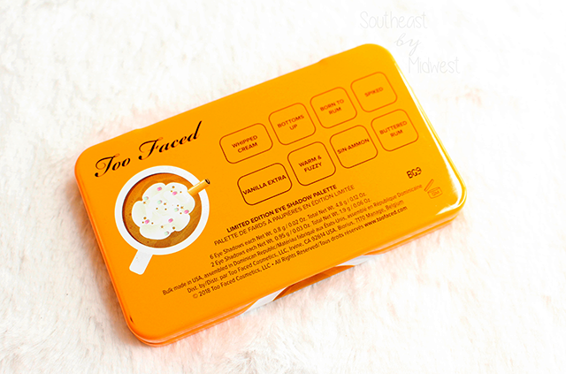 Too Faced Hot Buttered Rum Palette Back || Southeast by Midwest #beauty #bbloggers #toofaced